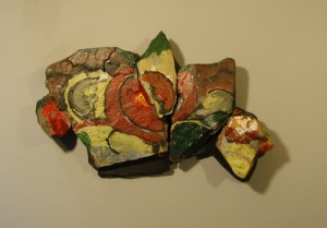 "2012 stones, plywood, acrylic 9"" x 6"" x 2.5"" Destroyed in Hurricane Sandy flood."